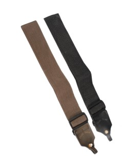 Banjo Strap with Special Leather Tabs - Black or Brown