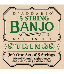 D'Addario Light Gauge Banjo Strings - J60