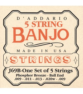 D'Addario J69B Phosphor Bronze Light Ball End String Gauges